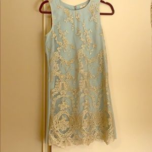 Light blue with gold detailing overlay dress